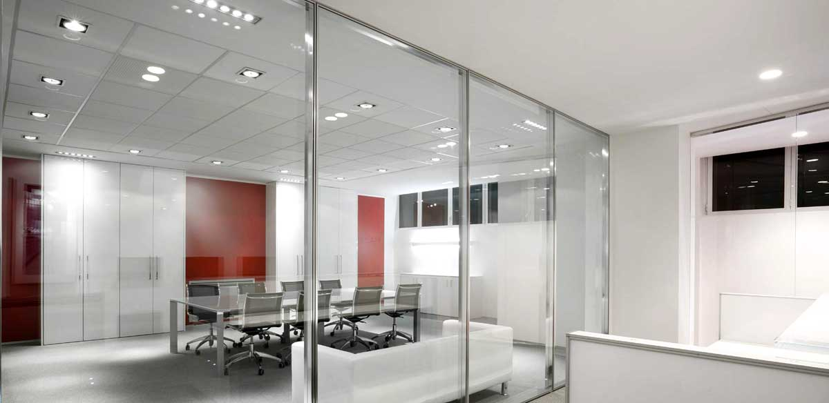 Glass partition walls with frames
