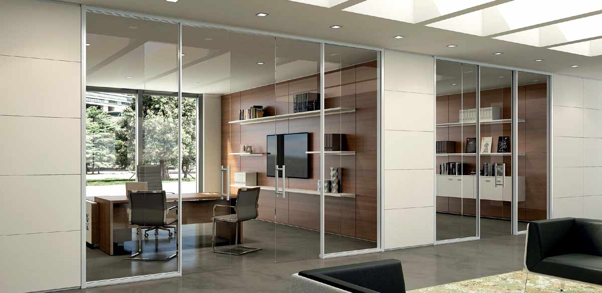 Partitions in wood and glass.