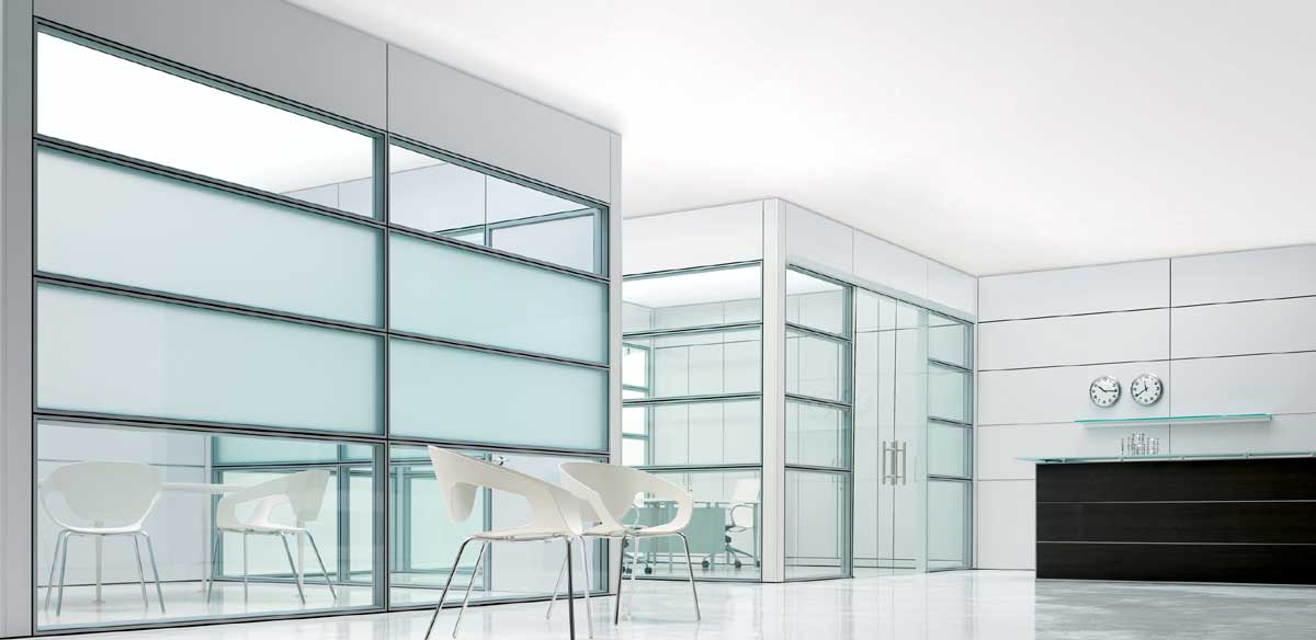 Glass partitions and panels