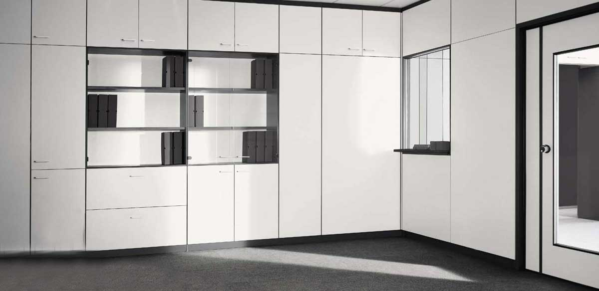 partition walls with storage units