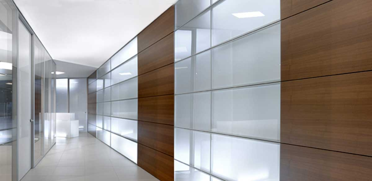 Partitions in glass and wood