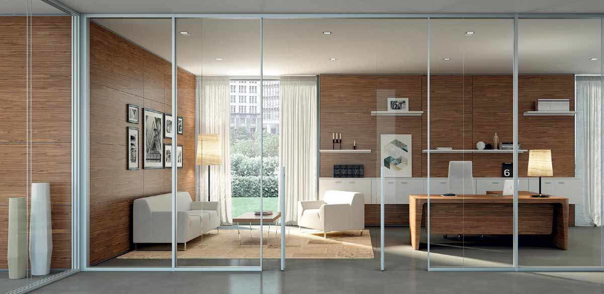 Wood and glass partitions
