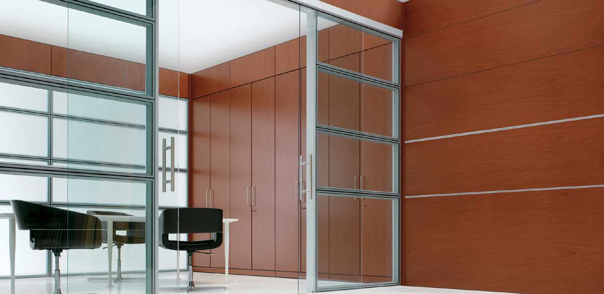 Wood / glass partitions with storage units