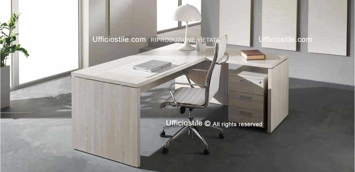 Mobili per ufficio - Scrivania angolare direzionale piano 38 mm.