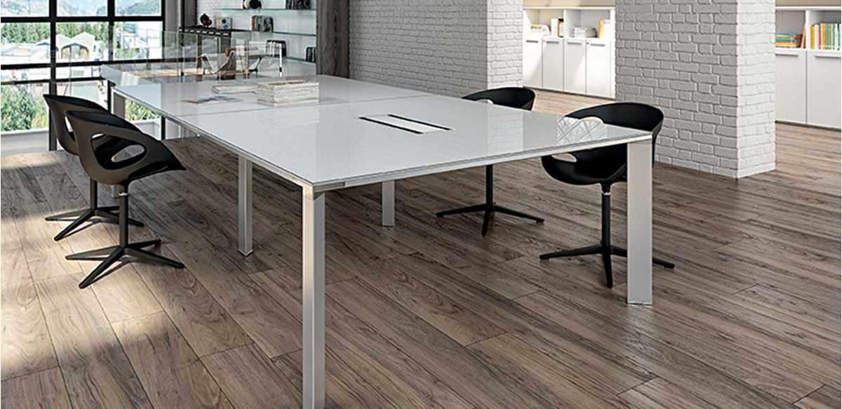 mobili per ufficio tavolo riunioni vetro bianco cm 320
