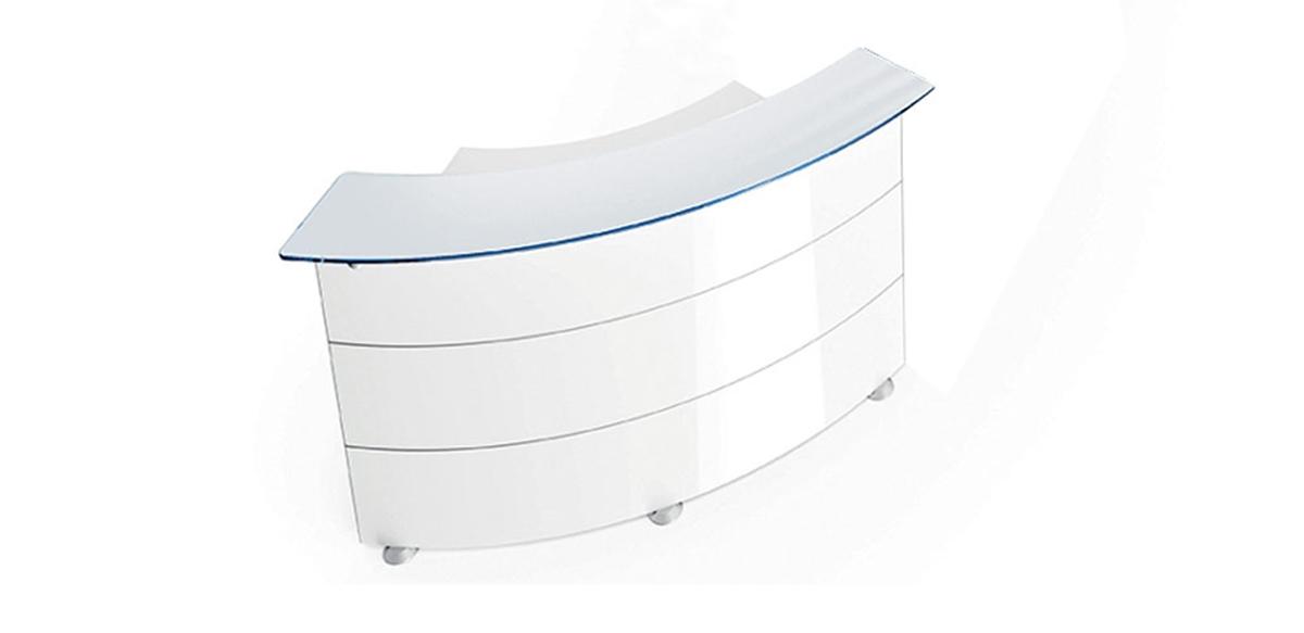 Bancone ufficio reception curvo 60 laccato bianco for Reception ufficio