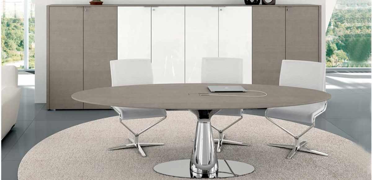 Tavolo riunioni ovale cm 220 e libreria 8 ante | Metar