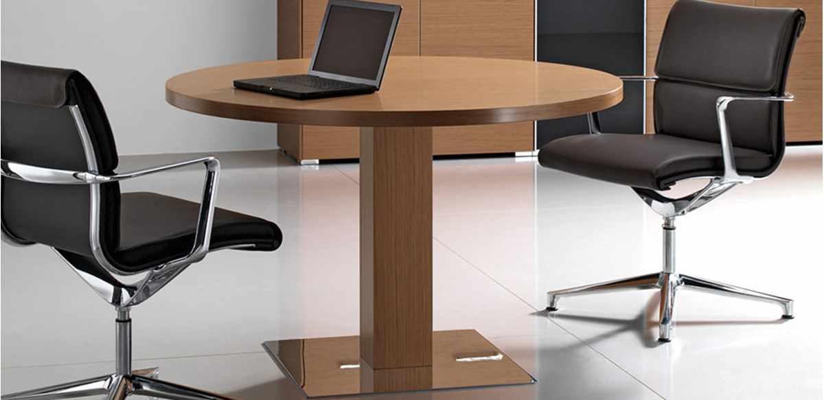 Tavolo ufficio tondo cm 120 in legno impiallacciato for Tavolo da studio