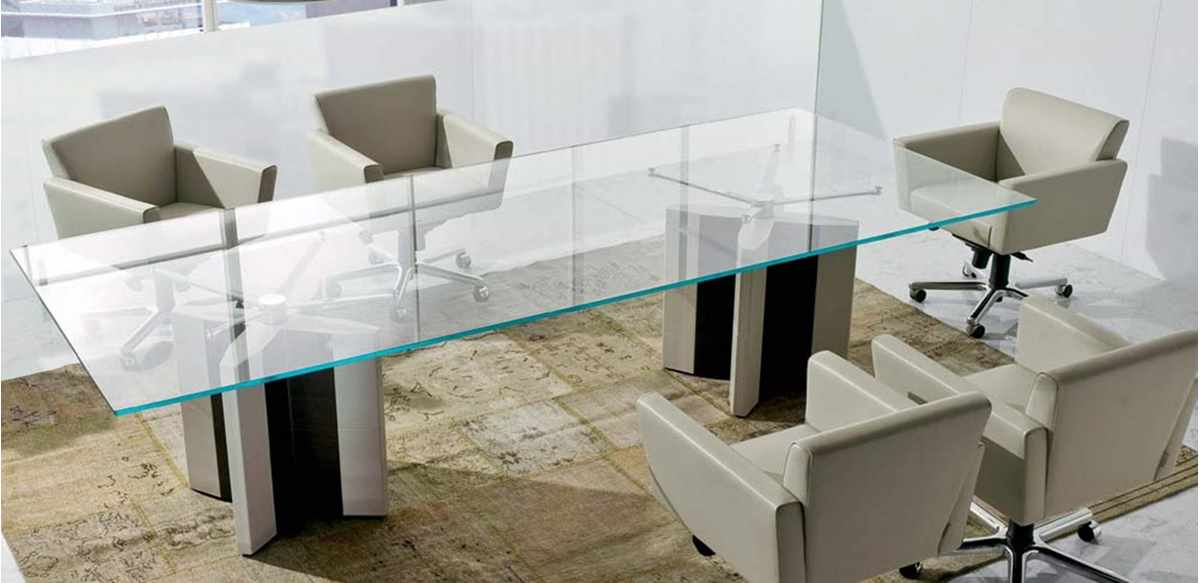 Mobili per ufficio tavolo riunioni cristallo cm 300 for Tavoli ufficio economici
