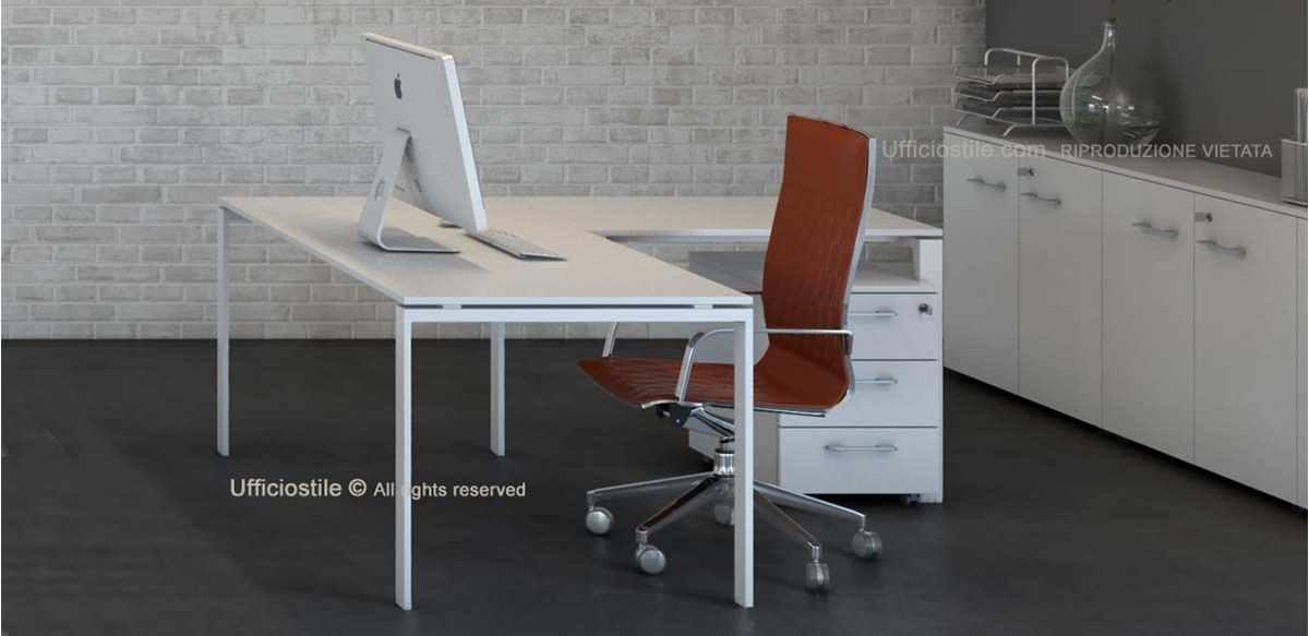 Mobili per ufficio scrivania angolare e libreria for Arredo ufficio bianco