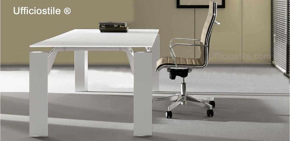Mobili per ufficio - Scrivania vetro bianco cm. 180