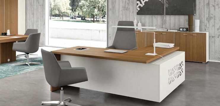 Mobili per ufficio scrivania direzionale angolare bicolore for Scrivania direzionale